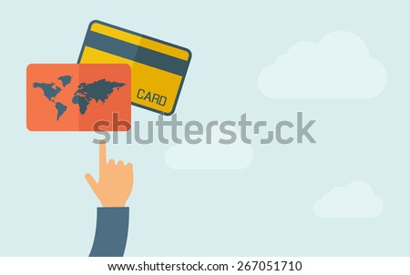 A hand pointing to credit cards. A contemporary style with pastel palette, light blue cloudy sky background. Vector flat design illustration. Horizontal layout with text space on right part. - stock vector