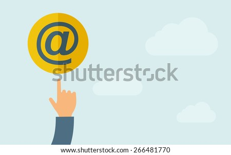 A hand pointing to Email icon.  A contemporary style with pastel palette, light blue cloudy sky background. Vector flat design illustration. Horizontal layout with text space on right part. - stock vector