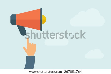 A hand pointing to megaphone. A contemporary style with pastel palette, light blue cloudy sky background. Vector flat design illustration. Horizontal layout with text space on right part. - stock vector