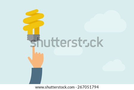 A hand pointing to spiral bulb icon. A contemporary style with pastel palette, light blue cloudy sky background. Vector flat design illustration. Horizontal layout with text space on right part. - stock vector