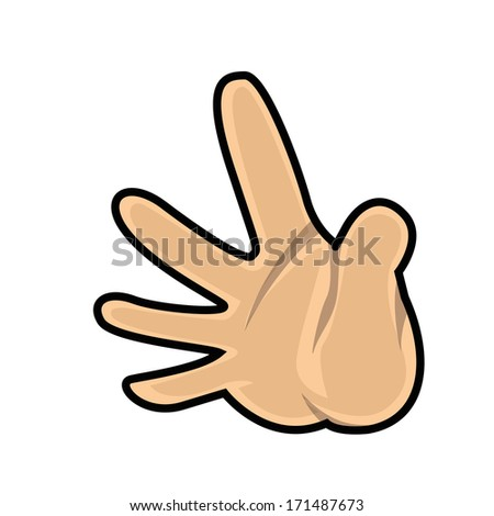 a hand saying hello in a white background