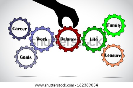 a hand silhouette placing balance gear in between work and life gears with bright glowing white background - work life balance concept illustration vector design art  - stock vector