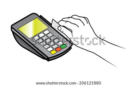 A hand swiping a credit card in a small point of sale pin pad / terminal. - stock vector