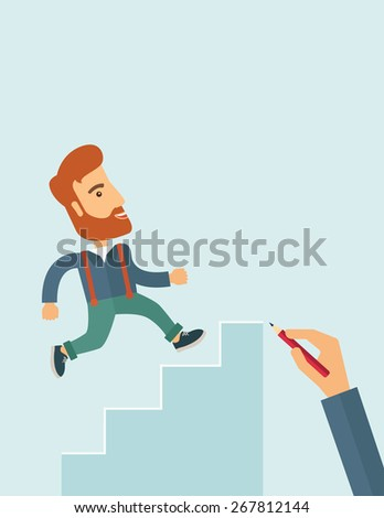 A hand with red pen drawn a hipster Caucasian business man climbing stairs - stock vector