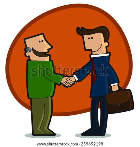 A handshake between a businessman and a customer - stock vector
