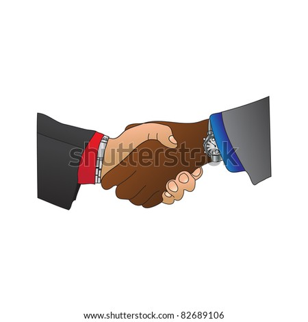 A handshake between a Caucasian and an Afro Carribean man. They are both wearing suits of different colors and watches. - stock vector