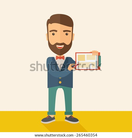 A handsome hipster Caucasian man wearing blue jacket holding his clipboard with paper where he wrote his report happily presenting his marketing plan. Marketing strategy concept. A contemporary style - stock vector