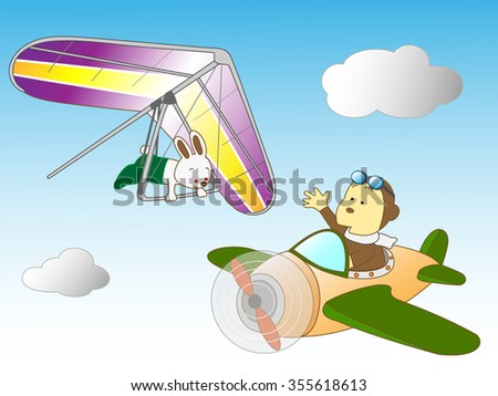 A hang glider and propeller animals having an adventure by air.
