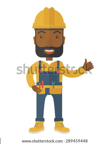 A happy black carpenter standing wearing hard hat and overalls. A Contemporary style. Vector flat design illustration isolated white background. Vertical layout. - stock vector