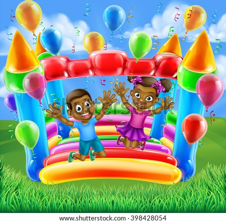 A happy boy and girl bouncing on a bouncy castle - stock vector