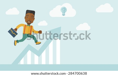 A happy career guy running going to a graph arrow up and have a brilliant idea on how to achieve his goal. Business progress concept.  A contemporary style with pastel palette soft blue tinted - stock vector