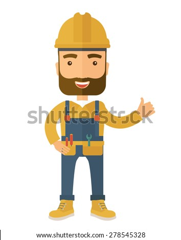 A happy carpenter standing wearing hard hat and overalls. A Contemporary style. Vector flat design illustration isolated white background. Vertical layout. - stock vector