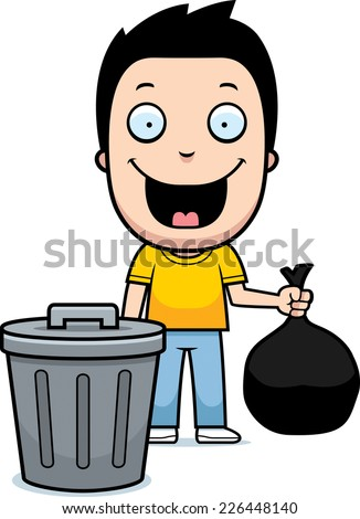 A happy cartoon boy taking out the trash. - stock vector
