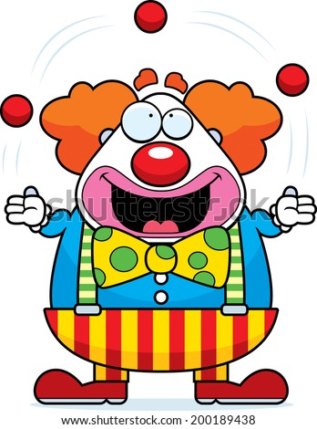 A happy cartoon clown juggling and smiling. - stock vector