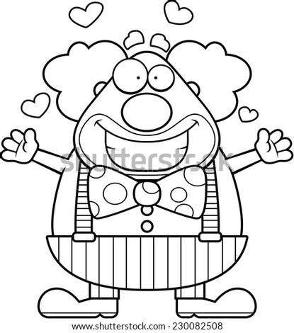 A happy cartoon clown ready to give a hug. - stock vector