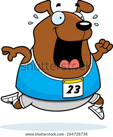 A happy cartoon dog running in a race. - stock vector