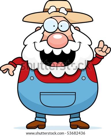 A happy cartoon farmer with an idea. - stock vector