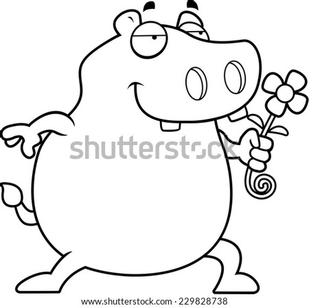 A happy cartoon hippo with a flower.