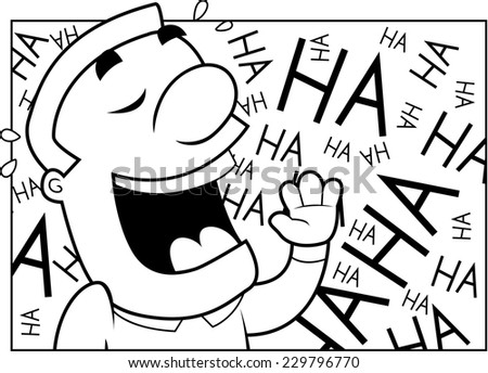 A happy cartoon man laughing and smiling. - stock vector