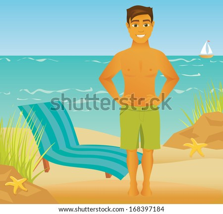 A happy cartoon man shows off his figure at the beach. Smiling with hands on hips and the ocean int he background. - stock vector