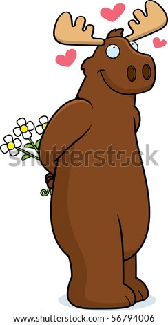 A happy cartoon moose in love and holding flowers. - stock vector