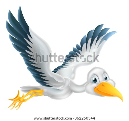 A happy cartoon stork bird animal character flying through the air - stock vector