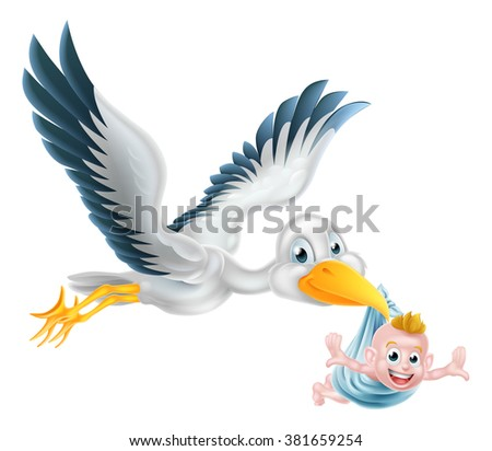 A happy cartoon stork bird animal character flying through the air holding a newborn baby. Classic myth of stork bird delivering a new born baby - stock vector