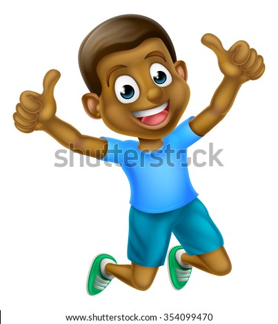 A happy cartoon young black boy jumping for joy with two thumbs up - stock vector