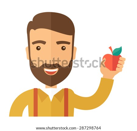 A happy caucasian businessman close up raising his arm while holding a red apple.  The concept of success and good idea. A Contemporary style. Vector flat design illustration isolated white background