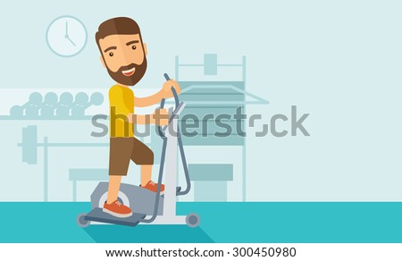 A happy caucasian in gym sport workout exercises. Contemporary style with pastel palette, soft blue tinted background. Vector flat design illustrations. Horizontal layout with text space in right side - stock vector