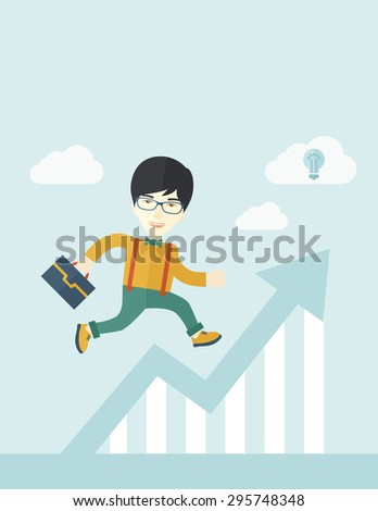 A happy chinese career guy running going to a graph arrow up and have a brilliant idea on how to achieve his goal. Business progress concept. A contemporary style with pastel palette soft blue tinted - stock vector