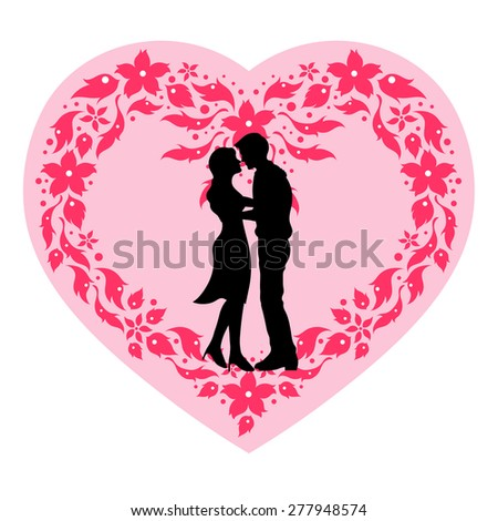 A happy couple lover with heart flower frame, wedding card or engagement, engage, valentines day. vector design