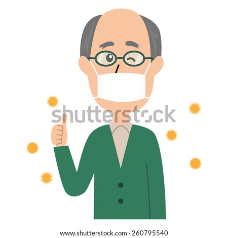 A happy elderly man winking with a mask and glasses on, allergen flowing in the air, vector illustration - stock vector