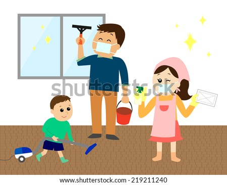 A happy family of three cleaning the house, vector illustration - stock vector