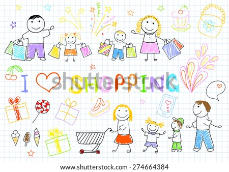 A happy family on shopping. Sketch on notebook page - stock vector