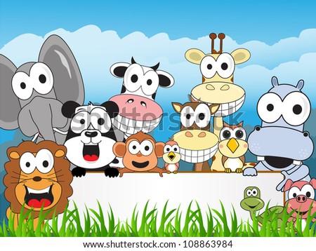 a happy family zoo - stock vector