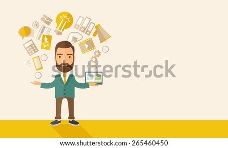 A happy hipster Caucasian   self employed with beard standing enjoying doing multitasking, working on different projects from his home office only by himself. Self reliance concept. - stock vector