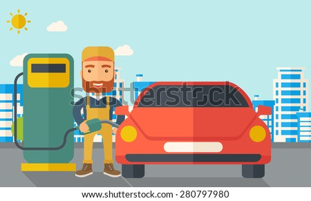 A happy hipster gasoline boy filling up fuel into the car. A Contemporary style with pastel palette, soft blue tinted background with desaturated clouds. Vector flat design illustration. Horizontal - stock vector