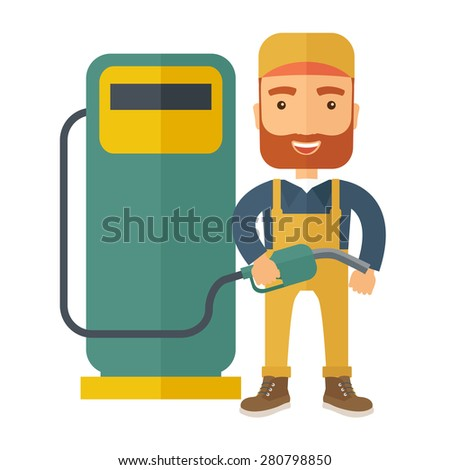 A happy hipster gasoline boy with gas pump. A Contemporary style. Vector flat design illustration isolated white background. Square layout  - stock vector