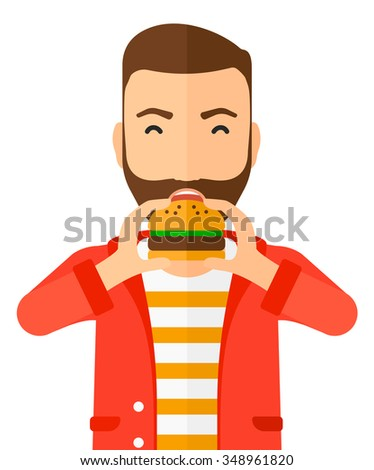 A happy hipster man eating hamburger vector flat design illustration isolated on white background. Vertical layout. - stock vector