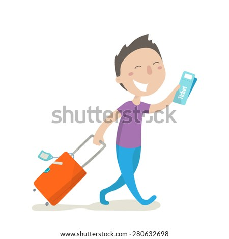 A happy man carries his luggage and holds in his hand boarding pass. Flat design. Vector illustration. - stock vector
