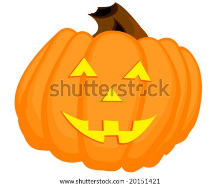 A happy orange jack o'lantern.