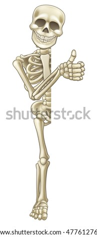 A happy skeleton cartoon character peeping around the side of a sign and giving a thumbs up