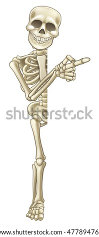 A happy skeleton cartoon character peeping around the side of a sign and pointing at it