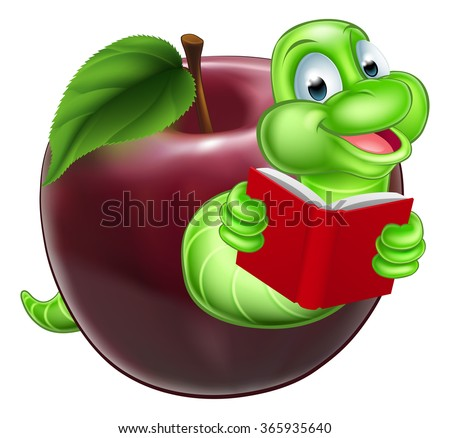 A happy smiling cute green cartoon caterpillar bookworm coming out of an apple and reading a book - stock vector