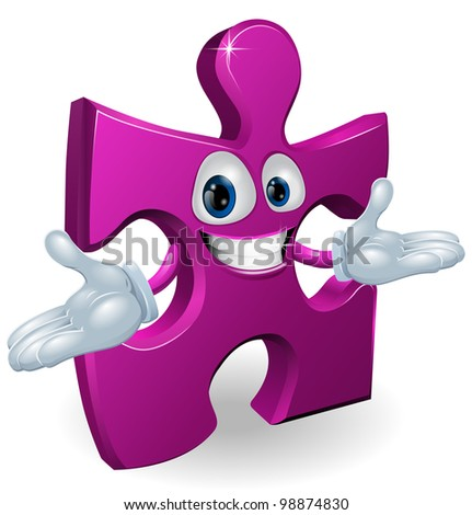 A happy smiling purple jigsaw piece character illustration