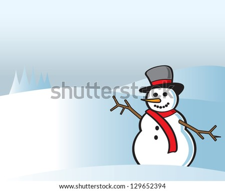 A happy snowman waving outside with snowy background. - stock vector