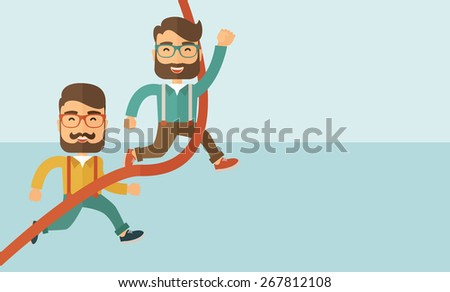 A happy two hipster Caucasian men with beard running to the finish line for meeting the deadline.  - stock vector