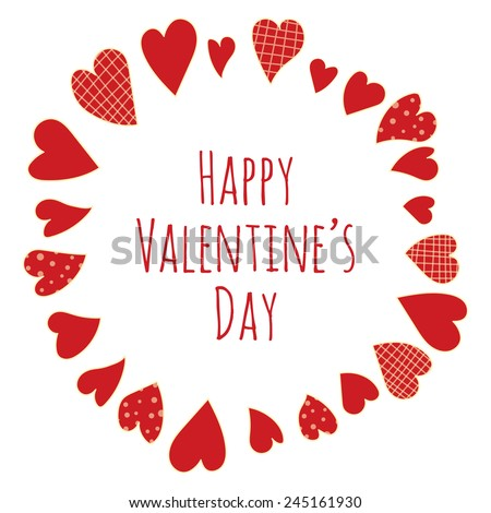 """A """"Happy Valentine's Day"""" message in hand drawn red plain hearts, dotted hearts and plaid hearts, vector image - stock vector"""