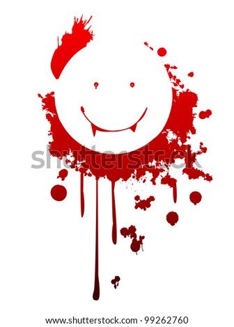 A happy vampire symbol made from the blood of victims - stock vector
